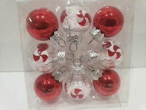 Christmas MINI Red Peppermint Plastic Ornaments Home Decor Set of 8
