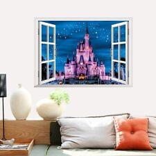 Pink Disney Princess Castle Wall Sticker Magical Kingdom Cinderella Disneyworld
