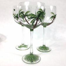Wine Glasses Set Of 3 Hand Painted Tropical Palm Tree Tiki Bar