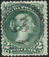 Canada #24 used F 1868 Queen Victoria 2c green Large Queen 2-ring cancel
