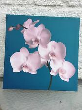 Small Blue Orchid Floral Wall Art Canvas Hanging Picture.