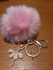 Diamanté Ballerina Pink Pom Pom Key Ring/Bag Charm. Mothers day gift.