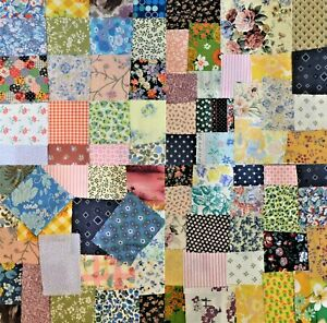VINTAGE RETRO COTTON OFFCUT SCRAPS CRAFT FLORAL FABRIC MATERIAL SEWING REMNANTS