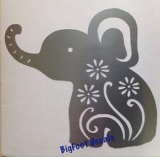 Window Decal Happy Baby Elephant Cute Flowers Safari Car Truck Wall Sticker