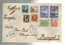 1937 Las Palmas Spain Airmail cover to Hungary Canary Islands Local Issue