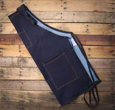 Dark Blue Denim Apron Barber Barista Kitchen Stylist Uniform Handmade