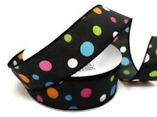"1.5"" MULTI COLOR GLITTER DOTS WIRED RIBBON,BLACK WITH MULTI COLOR DOTS - 5 YARDS"
