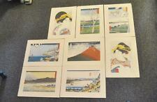 Eight Japanese Reproduction Woodblock Prints From Rare Old Originals