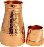 Hammered Finish Pure Copper Bedroom Bottle With Inbuilt Glass Modern Drink Ware
