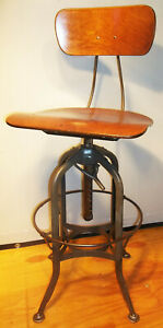 Antique Adjustable Toledo Industrial Drafting Chair Stool Architect Machinist