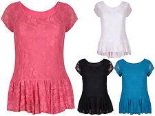 Womens Short Cap Sleeves Ladies Lined Floral Lace Peplum T-Shirt Top Plus Size