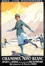 A3 arte cartel Chamonix Mont Blanc Viaje de impresión de 1924