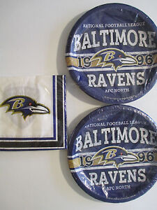 BALTIMORE RAVENS - NFL FOOTBALL EST.   Party Supplies w/ Plates & Napkins NEW !