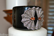 New $695 MIRIAM SALAT Sterling Fan Blk Resin Hinged Cuff Bracelet Topaz Crystal