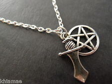 """Pentacle & Athame Necklace 18"""" silver plated chain pendant pentagram wicca pagan"""