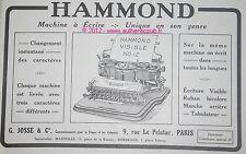 PUBLICITE 1911 MACHINE A ECRIRE HAMMOND TYPEWRITER FRENCH ORIGINAL AD ADVERT