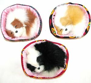 NEW-ADORABLE RABBIT FUR SLEEPING CURLED-UP DOG,PUPPY+BASKET,BED,PILLOW