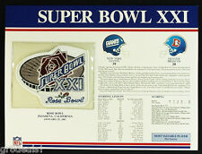 SUPER BOWL 21 ~ GIANTS vs BRONCOS Willabee & Ward OFFICIAL NFL SB XXI PATCH CARD