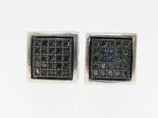 BLACK ON BLACK PAVE 8 MM DIAMOND STUD EARRINGS .25 CT