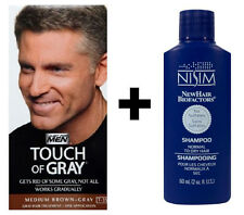 Just For Men Touch of Grey Medium Brown Gray T35 Hair Colour Dye + NIsim Shampoo