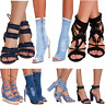 JUSTYOUROUTFIT Womens Peep Toe Distressed  LACE UP STRAPPY  Denim Ankle Heels