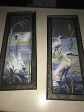 vintage Egrets and  Swans mirror framed picture set Mid Century