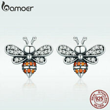 US Center Women S925 Sterling silver Stud Earring Bee story With AAA CZ Jewelry
