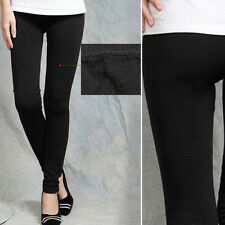 Black Fleece-Lined Leggings Opaque Footless Winter Warm Adult Ladies Stretchy OS