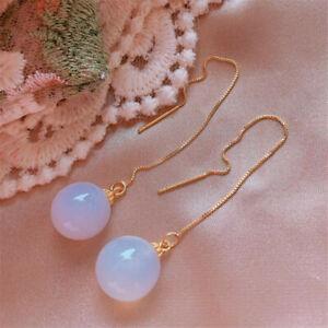 Elegant Natural white jade Gold Earrings Ping buckle 18K Christmas CARNIVAL