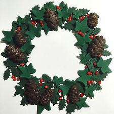 Christmas Cake Decoration Topper Pinecones, Holly & Ivy Edible Handmade Wreath