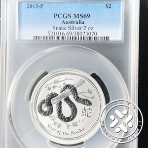 2013-P AUSTRALIA 2 OZ SILVER YEAR OF THE SNAKE  PCGS MS69