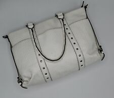 Patricia Nash Leather Carducci Twisted Woven Embossed Pocket Tote White