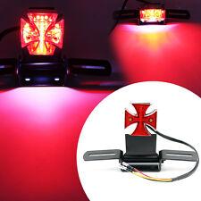 Motorcycle Maltese Cross Led Tail Light Lamp w/ Plate for Harley Chopper Bobber