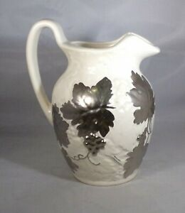 """Ceramic Pitcher White Pottery & Silver Grapes & Leaves Design 7.25"""" Tall Vintage"""