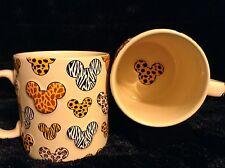 Disney Animal Kingdom Safari Coffee Mugs (2) Mouse Print Icons Zebra Tiger 20 Oz