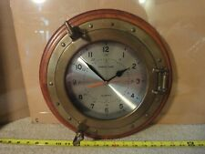 "Vintage original ""Ships Time"" Large 12"" brass porthole wall clock. Works!"