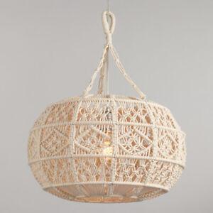 Handwoven Macrame Pendant Lampshade, Round Boho Sphere, Off-White Ivory Cotton