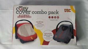 USC Trojans Infant Carrier Sun & Bug Cozy Cover Combo Pack (New Opened Box)