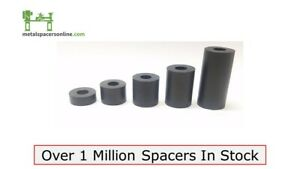 """Black Anodized Aluminum Spacer Bushing 3/8"""" OD x 1/4"""" ID--Fits M6 or 1/4"""" bolts"""