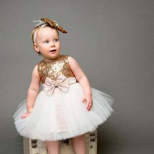 Janita Flower Girl Dress & Headband Birthday Party Baby Wedding Sequin Outfit