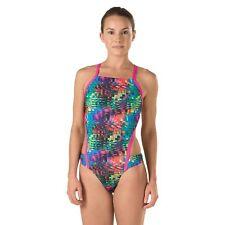 NWT $69 Women's Speedo Endurance Lite Eye Spy Turnz Multi Monokini/ Swimsuit 24