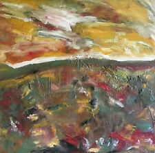 ORIGINAL LANDSCAPE PAINTING abstract modern art LARGE TEXTURED green yellow red