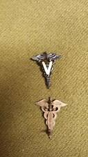 WWI US Army Officer Medical Veterinary Corps Insignia Pins, One Pair