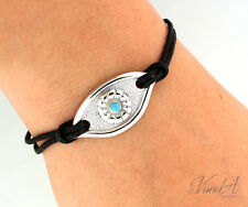 Sterling Silver 925 Evil Eye Bracelet Blue Eye Talismans Charm & Black Cord B18