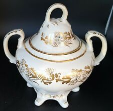 More details for lovely gold and siver pattern victorian sucrier lidded sugar bowl