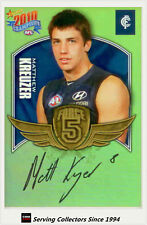 2010 Select AFL Champions Force 5 Signature Gold FFS15 Matthew Kreuzer (Carlton)