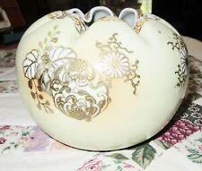 vase Yellow / raised gold trim Phoenix Bird Round pot ruffle small opening
