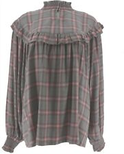 Peace Love World Plaid Blouse Smockings Grey XL NEW A310800