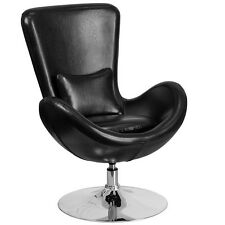 Flash Furniture Black Leather Egg Series Reception-Lounge-Side Chair New