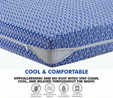 Zipped Mattress Protector Cover Total Encasement Single Double King Bed Sheets